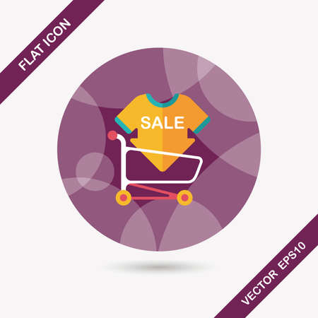 shopping sale sign board and cart flat icon with long shadow