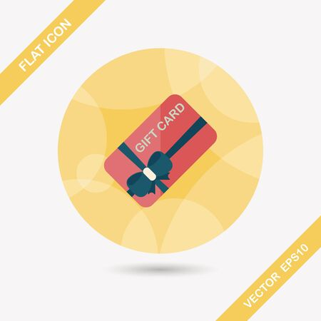 shopping gift card flat icon with long shadow