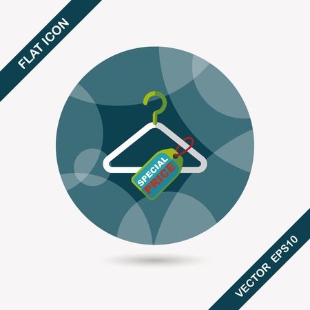 coathanger: shopping clothes hanger flat icon with long shadow