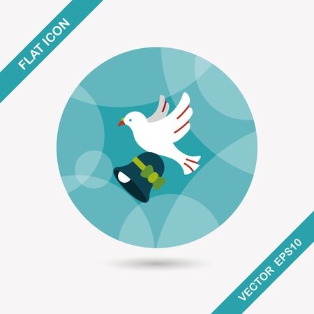 getting married: wedding bird flat icon with long shadow Illustration