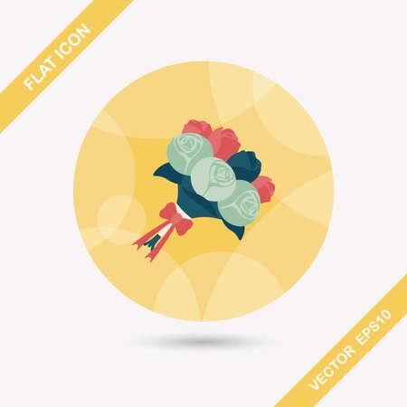 flower bouquet: wedding flower bouquet flat icon with long shadow Stock Illustratie