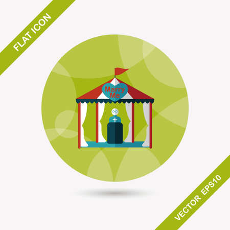 wedding tent: wedding ceremony flat icon with long shadow