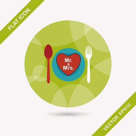 dinnerware: wedding dishware flat icon with long shadow