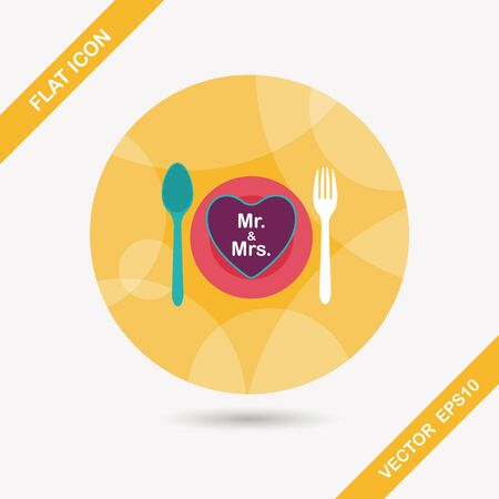 dishware: wedding dishware flat icon with long shadow