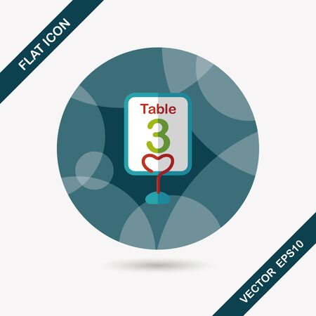wedding table setting: wedding table sign flat icon with long shadow Illustration