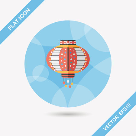 chinese lantern: Chinese New Year flat icon with long shadow, Chinese decorative lantern