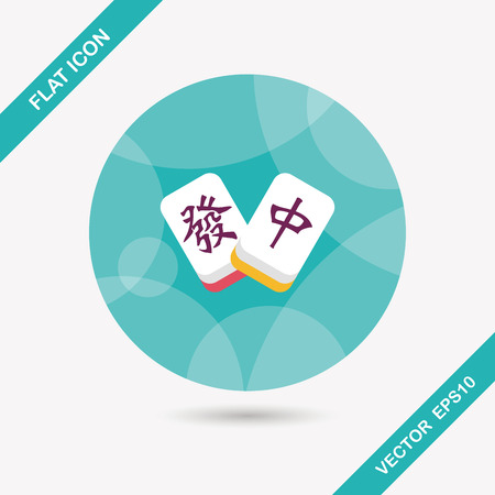 Chinese New Year flat icon icon with long shadow, Chinese mahjong