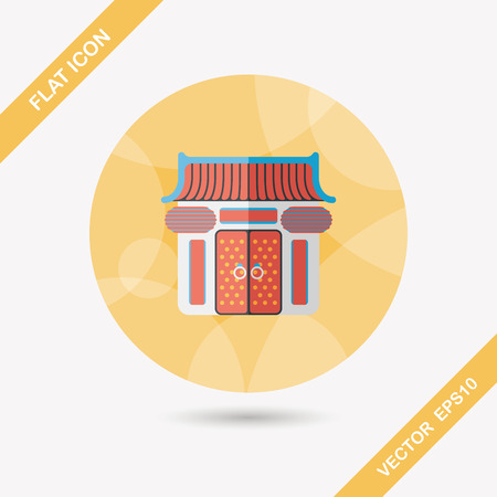 Chinese New Year traditional temple flat icon with long shadow