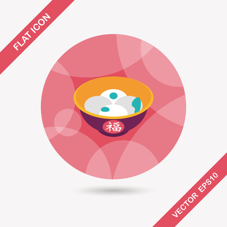 Chinese New Year tangyuan flat icon with long shadow