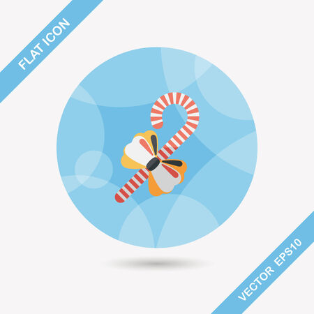 spearmint: Christmas candy cane flat icon with long shadow