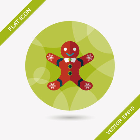 gingerbreadman: Gingerbread man flat icon with long shadow Illustration