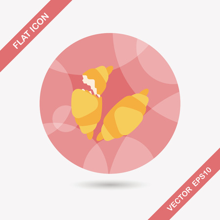 buttery: croissants flat icon with long shadow Illustration