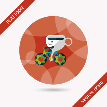 coffee time: coffee time flat icon with long shadow