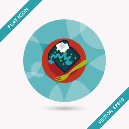 toasted sandwich: breakfast toast flat icon with long shadow Illustration