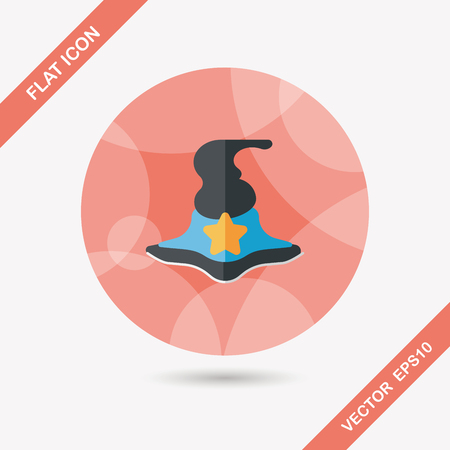 witch hat flat icon with long shadow Vector