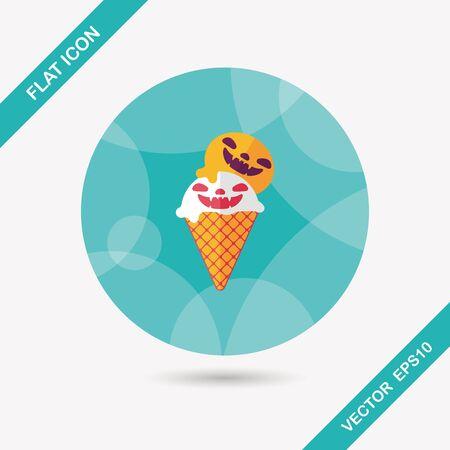 vamp: Halloween ice cream flat icon with long shadow,eps10