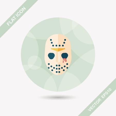 halloween mask: Halloween mask flat icon with long shadow Illustration