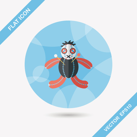 Halloween voodoo doll flat icon with long shadow