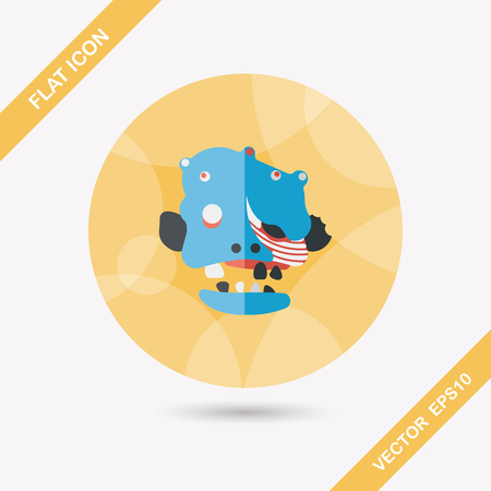 scar: Halloween zombie flat icon with long shadow Illustration