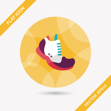 sneaker flat icon with long shadow