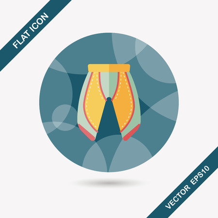 shorts: cycling shorts flat icon with long shadow