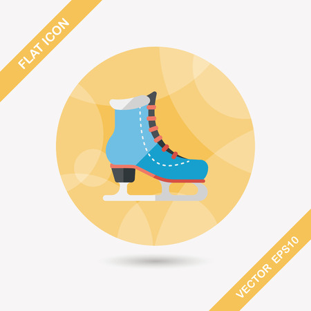 iceskates: ice skate flat icon with long shadow