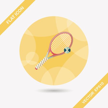 tennisball: tennis flat icon with long shadow Illustration