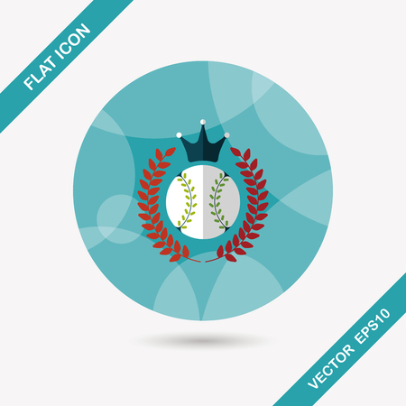 shadow match: baseball champion flat icon with long shadow