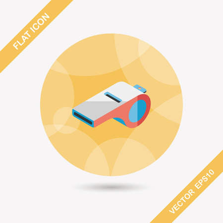 beep: whistle flat icon with long shadow