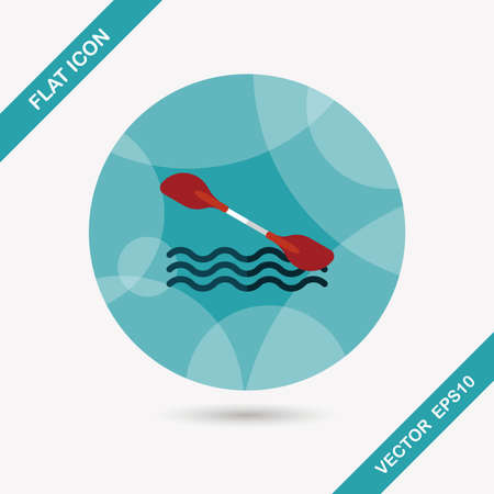 outboard: Boating paddle flat icon with long shadow