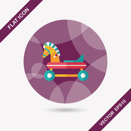 horse toy car flat icon with long shadow Vector