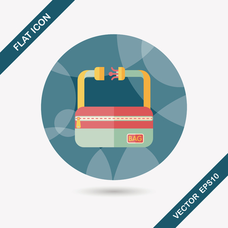 travel bag, flat icon with long shadow Vector