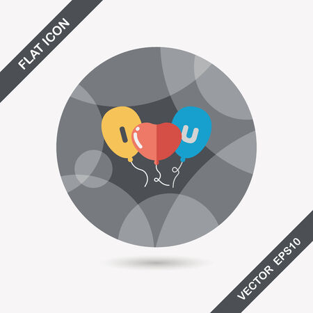 ballons: Valentines Day ballons flat icon with long shadow