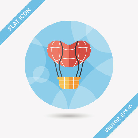 ballooning: Valentines Day hot air ballon flat icon with long shadow