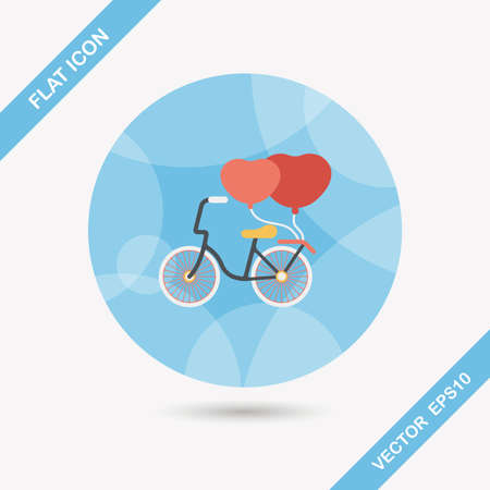 Valentines Day love heart couple riding bicycle flat icon with long shadow Vector