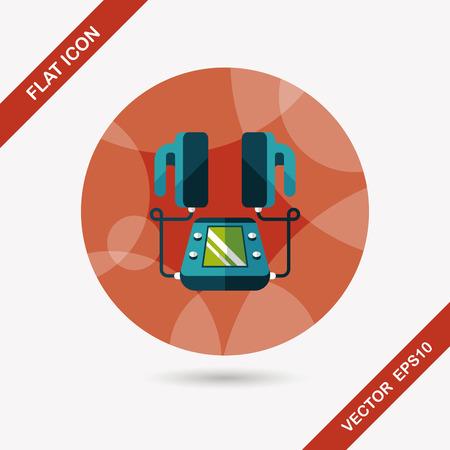 tachycardia: Heart Defibrillator flat icon with long shadow