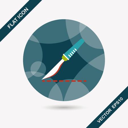 scalpel: Scalpel cut flat icon with long shadow Illustration