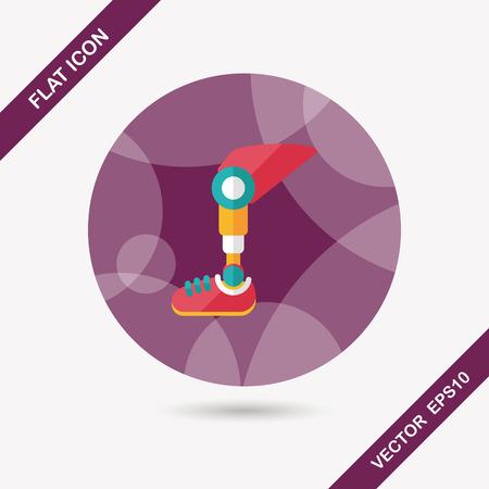 artificial leg: prosthetic leg flat icon with long shadow Illustration
