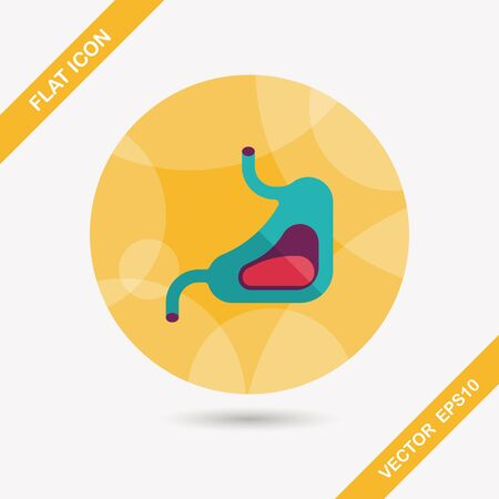 colonoscopy: Human stomach flat icon with long shadow