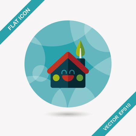 the greenhouse: Environmental protection concept flat icon with long shadow