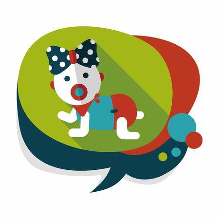 hispanic boy: baby rattle flat icon with long shadow