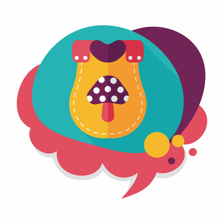 babero: icono plana babero beb� con larga sombra