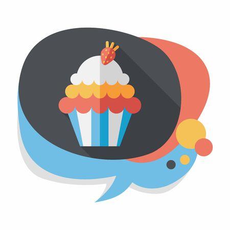 eat cartoon: cupcake flat icon with long shadow