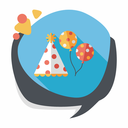 flying hat: birthday party hat flat icon with long shadow