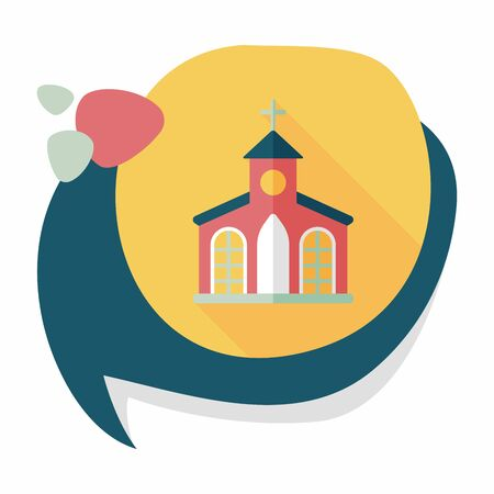 christian community: Building church flat icon with long shadow