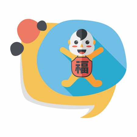 popularity: Chinese New Year flat icon with long shadow, Maitreya doll decoration means Bless you have wealth, monasticism and popularity.