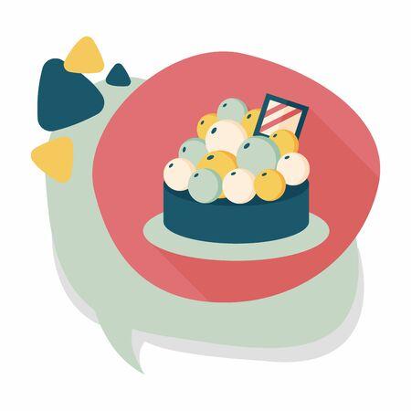 tart: fruit tart flat icon with long shadow Illustration