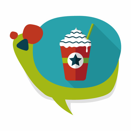 blended: frappucino flat icon with long shadow