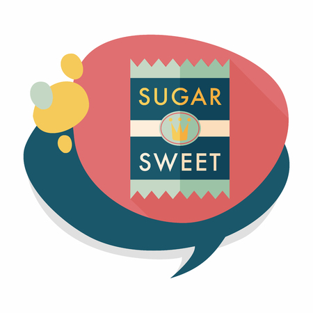 sugar packet flat icon with long shadow Vectores