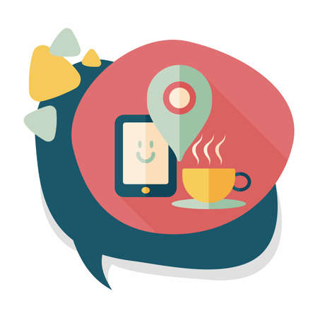 coffee flat icon with long shadow, When you go to coffee shop, you can check into places and click the like button on social network. Illustration
